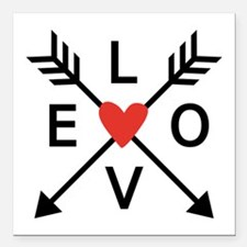 """Arrows with heart and love Square Car Magnet 3"""" x"""