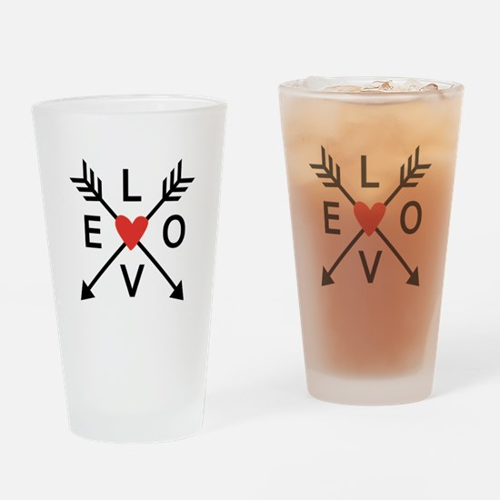 Arrows with heart and love Drinking Glass