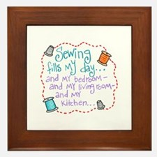 Sewing Fills My Day Framed Tile