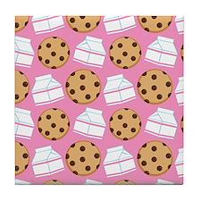 Milk and Cookies Pattern Tile Coaster