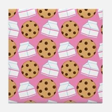 Milk and Cookies Pattern Tile Coaster