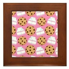 Milk and Cookies Pattern Framed Tile