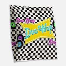 One Stop Doo Wop Shop Burlap Throw Pillow
