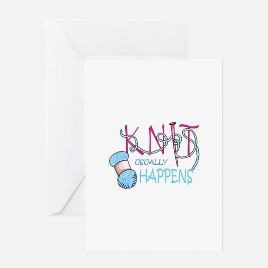 KNIT USUALLY HAPPENS Greeting Cards