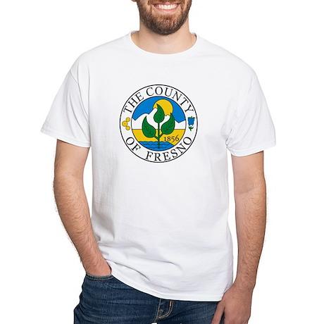 Fresno County Seal Baseball White T-Shirt