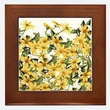 Daisy Botanical Flowers Floral Framed Tile