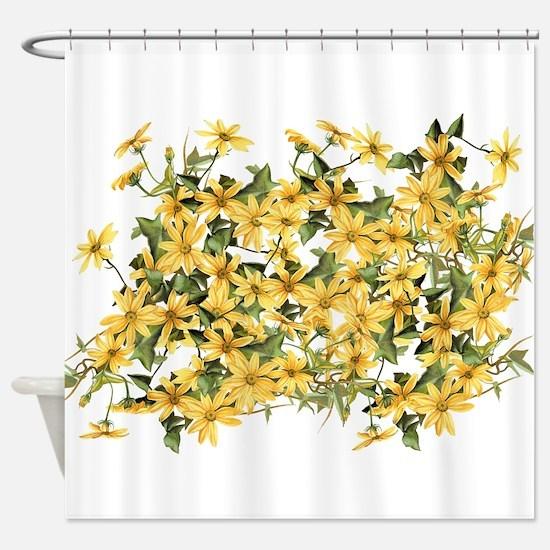 Daisy Botanical Flowers Floral Shower Curtain