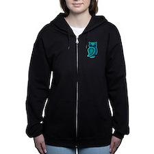 Turquoise Owl Women's Zip Hoodie