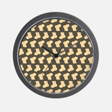 Brown and Tan Cute Little baby Socks Pa Wall Clock