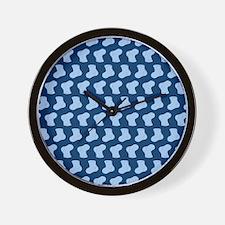 Blue Cute Little baby Socks Pattern Wall Clock