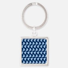 Blue Cute Little baby Socks Patter Square Keychain