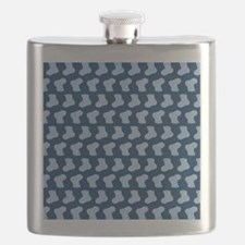 Blue Cute Little baby Socks Pattern Flask