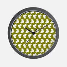 Olive and White Cute Little baby Socks Wall Clock