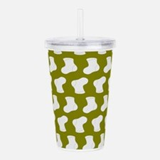 Olive and White Cute L Acrylic Double-wall Tumbler