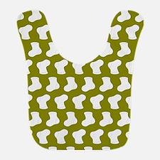 Olive and White Cute Little baby Socks Pattern Bib