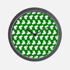 Green and White Cute Little baby Socks Wall Clock