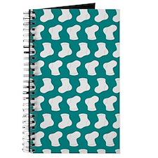 Teal and White Cute Little baby Socks Patt Journal