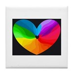 Rainbow Flow Heart Tile Coaster
