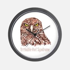 Irritable Owl Syndrome Humor Quote Wall Clock