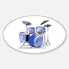 Drum Set Oval Sticker (Blue)