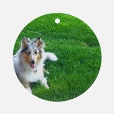 Collie Puppy Round Ornament
