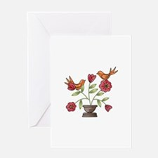 TAPESTRY BIRDS ON FLOWERS Greeting Cards