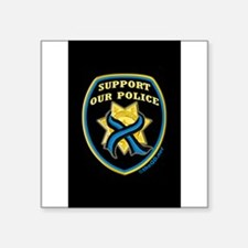 "Unique Police tribute Square Sticker 3"" x 3"""