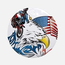 Patriotic Dirtbiker USA Ornament (Round)