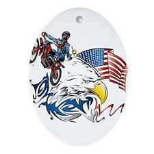 Patriotic Dirtbiker USA Ornament (Oval)