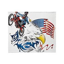 Patriotic Dirtbiker USA Throw Blanket