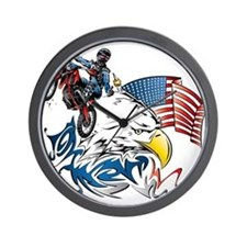 Patriotic Dirtbiker USA Wall Clock