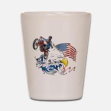 Patriotic Dirtbiker USA Shot Glass