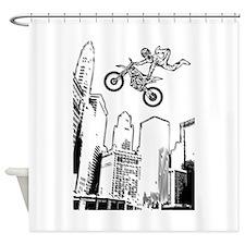dirt biker cityscraper Shower Curtain
