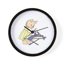 Ironing Pig Wall Clock