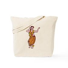 Polynesian Dancer Grass Skirt Linocut Tote Bag
