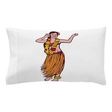 Polynesian Dancer Grass Skirt Linocut Pillow Case