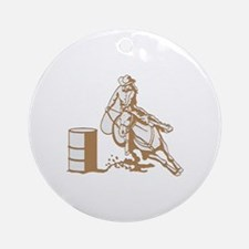 Barrel Racer Round Ornament