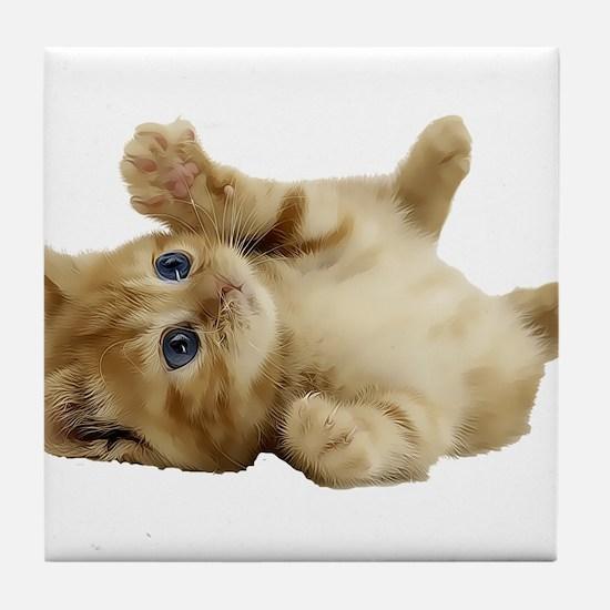 Tickle Me Kitten Tile Coaster