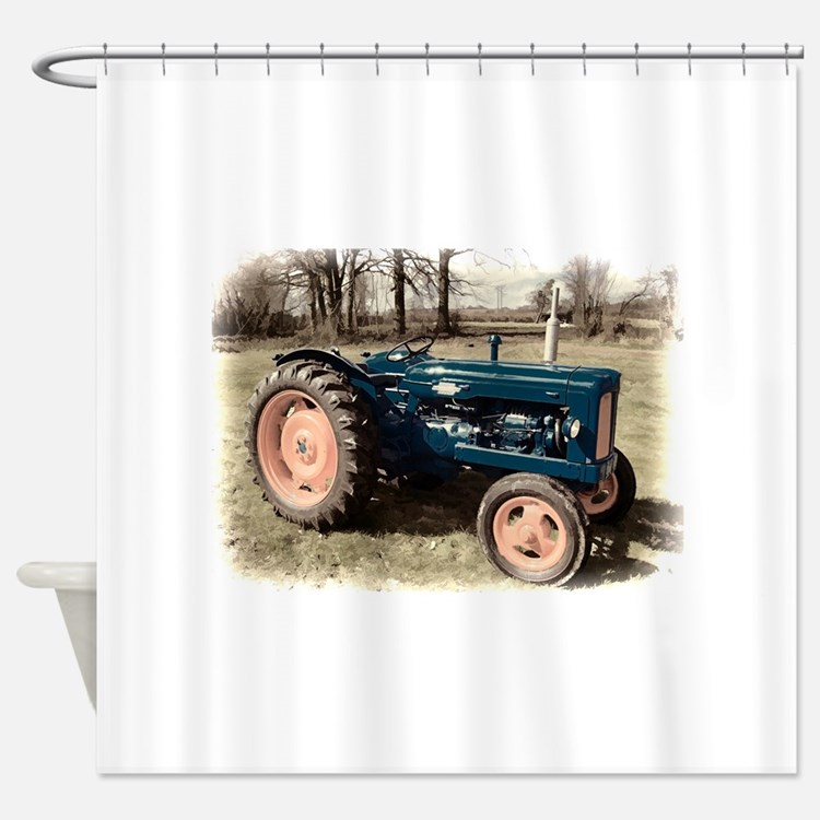 Tractor Shower Curtain : Antique tractor shower curtains fabric