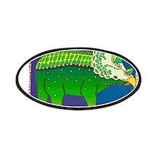 Technicolor Green Stegosaurus Dinosaur Patches