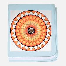 Gorgeous Lotus Mandal Orange Vibrant baby blanket