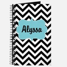Black Blue Chevron Personalized Journal