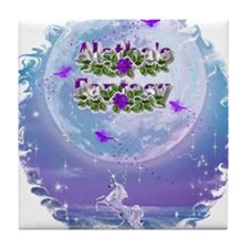 AF Unicorn Fairy Moon Tile Coaster