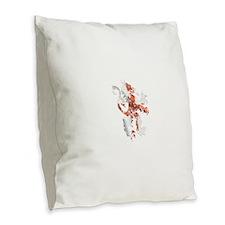 English Lion Burlap Throw Pillow