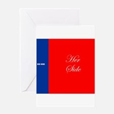 His Side Her Side blue red Greeting Cards