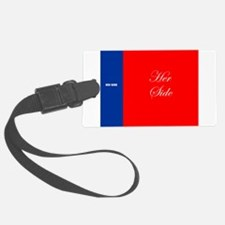 His Side Her Side blue red Luggage Tag