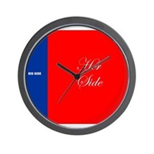His Side Her Side blue red Wall Clock