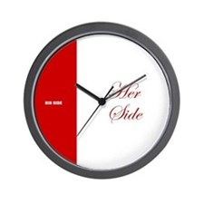 His Side Her Side red Wall Clock