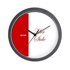 His Side Her Side 3 red Wall Clock