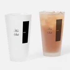 His Side Her Side 7 black white Drinking Glass